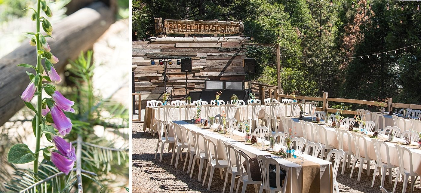 shaver lake village hotel California destination wedding reception tables