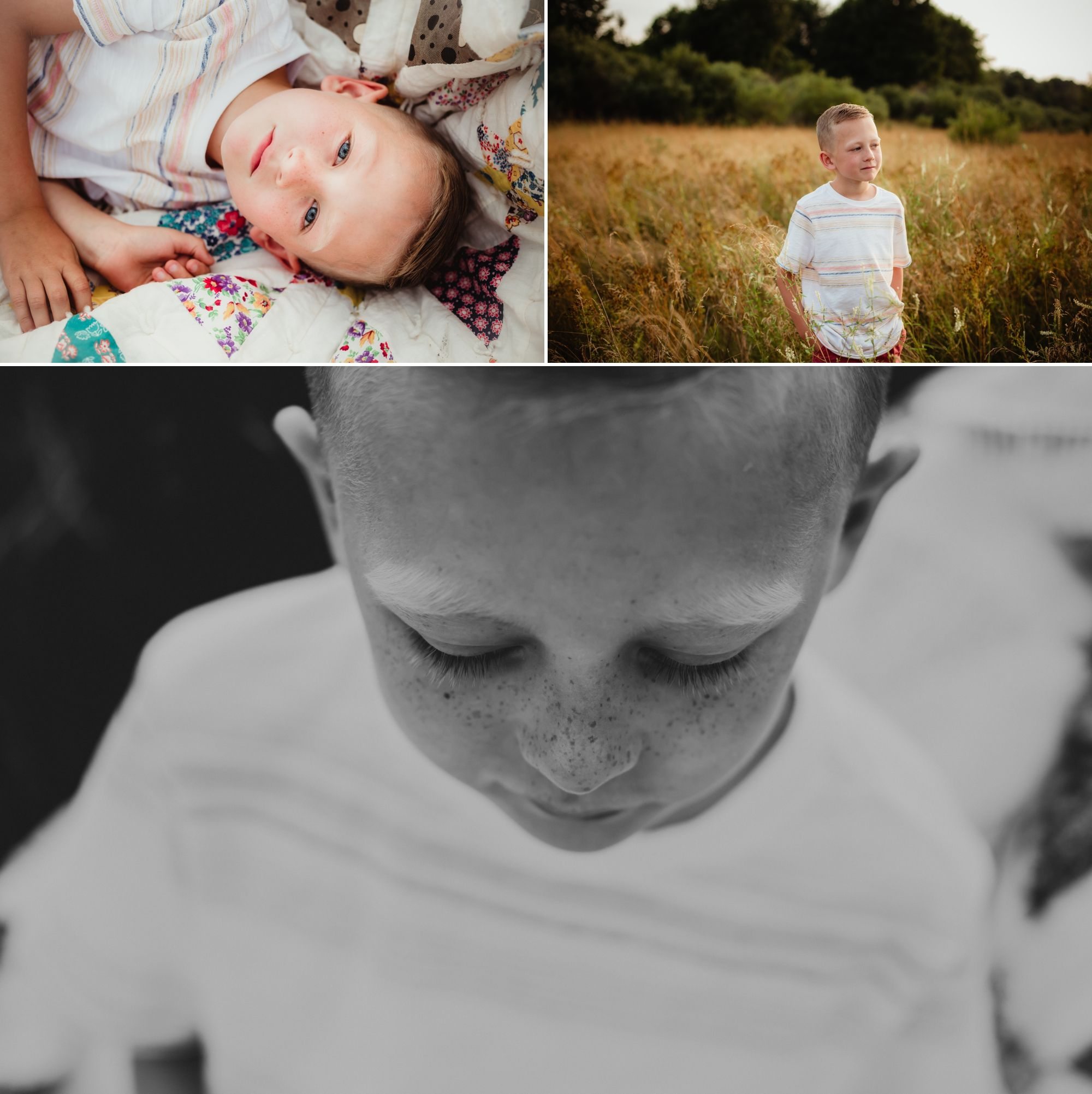Collage of young blonde boy lying on a quilt and standing in a field. Black and white photo of his freckles.