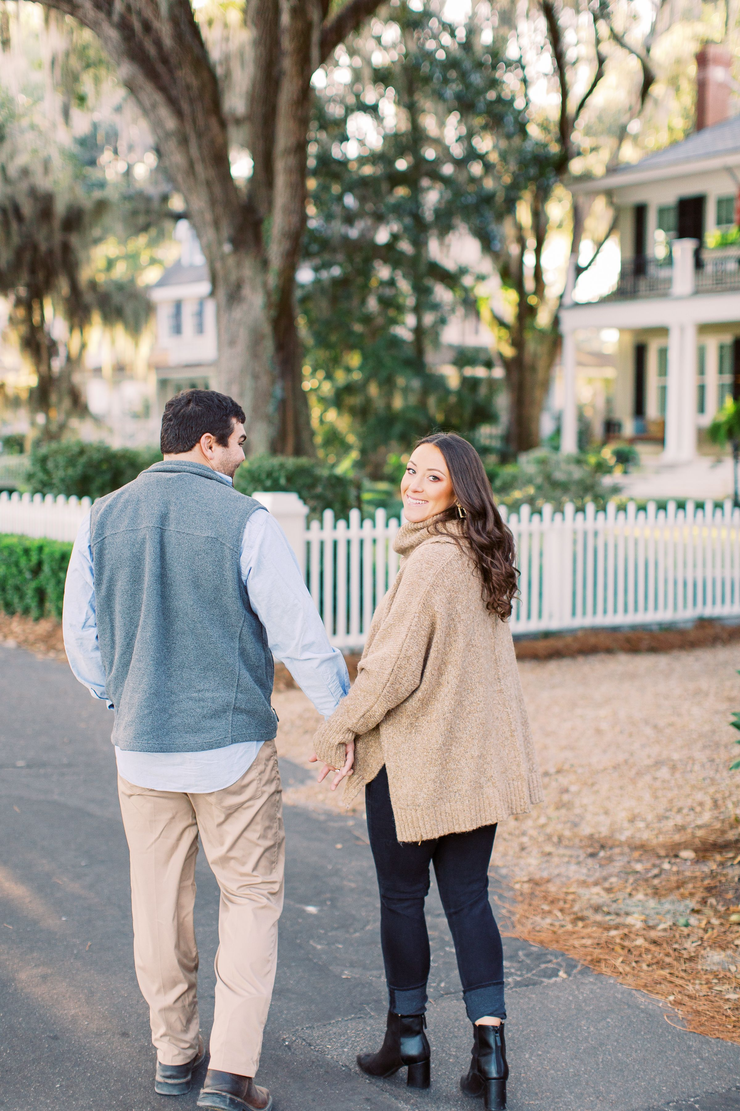 engagement session on bluff drive in savannah, ga