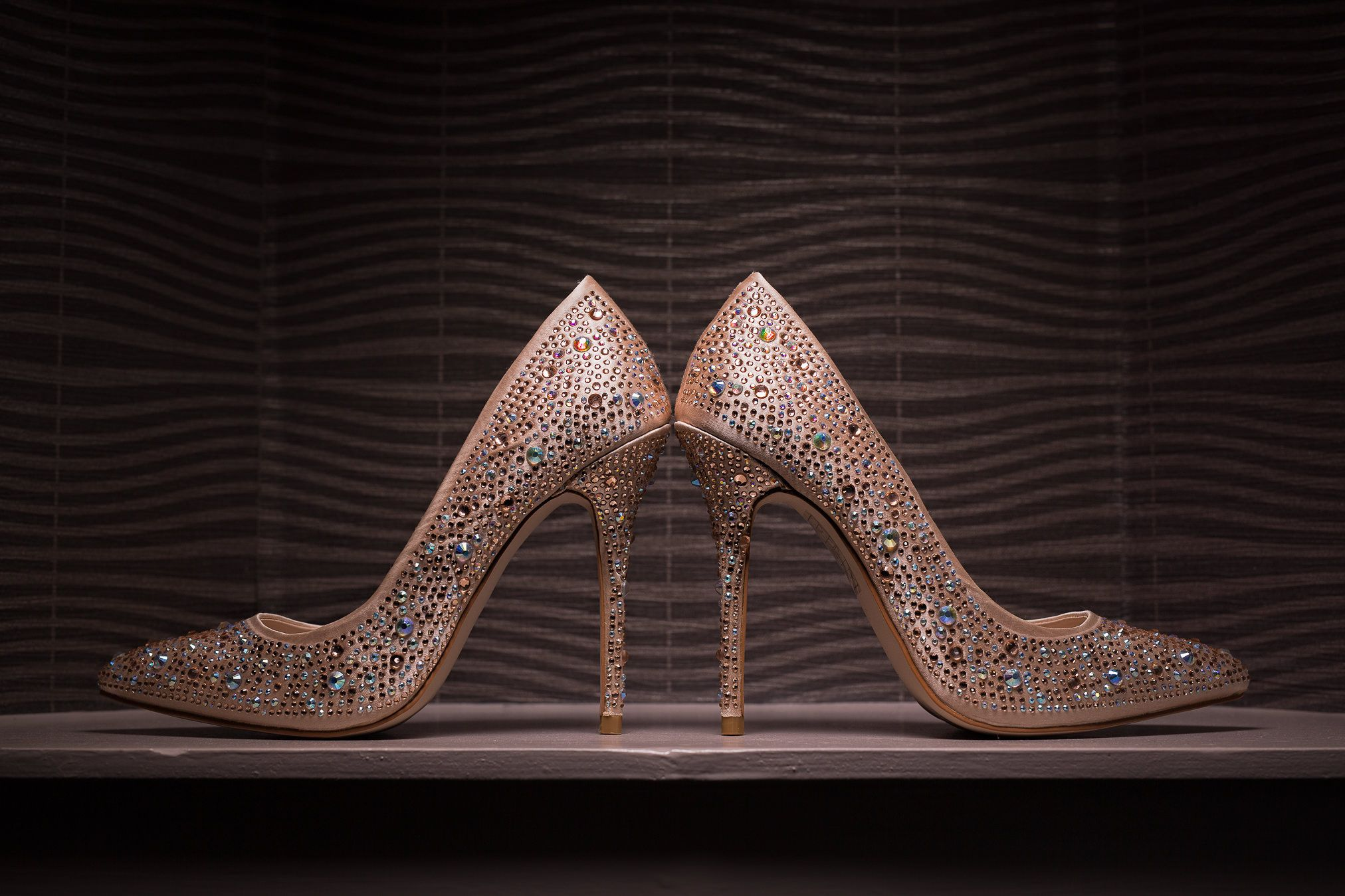 Jewel encrusted ornate gold wedding shoes