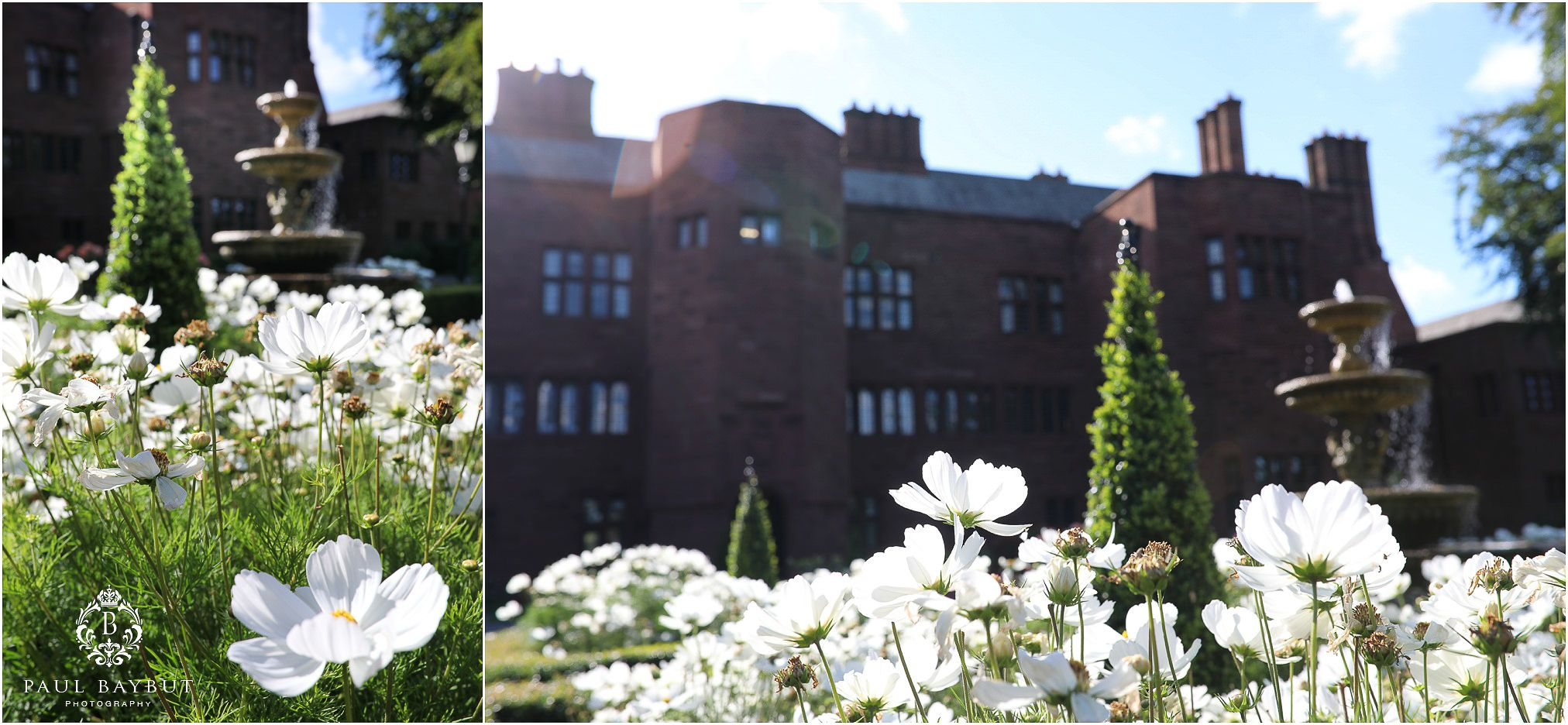 White flowers in the courtyard of Abbey House in Cumbria