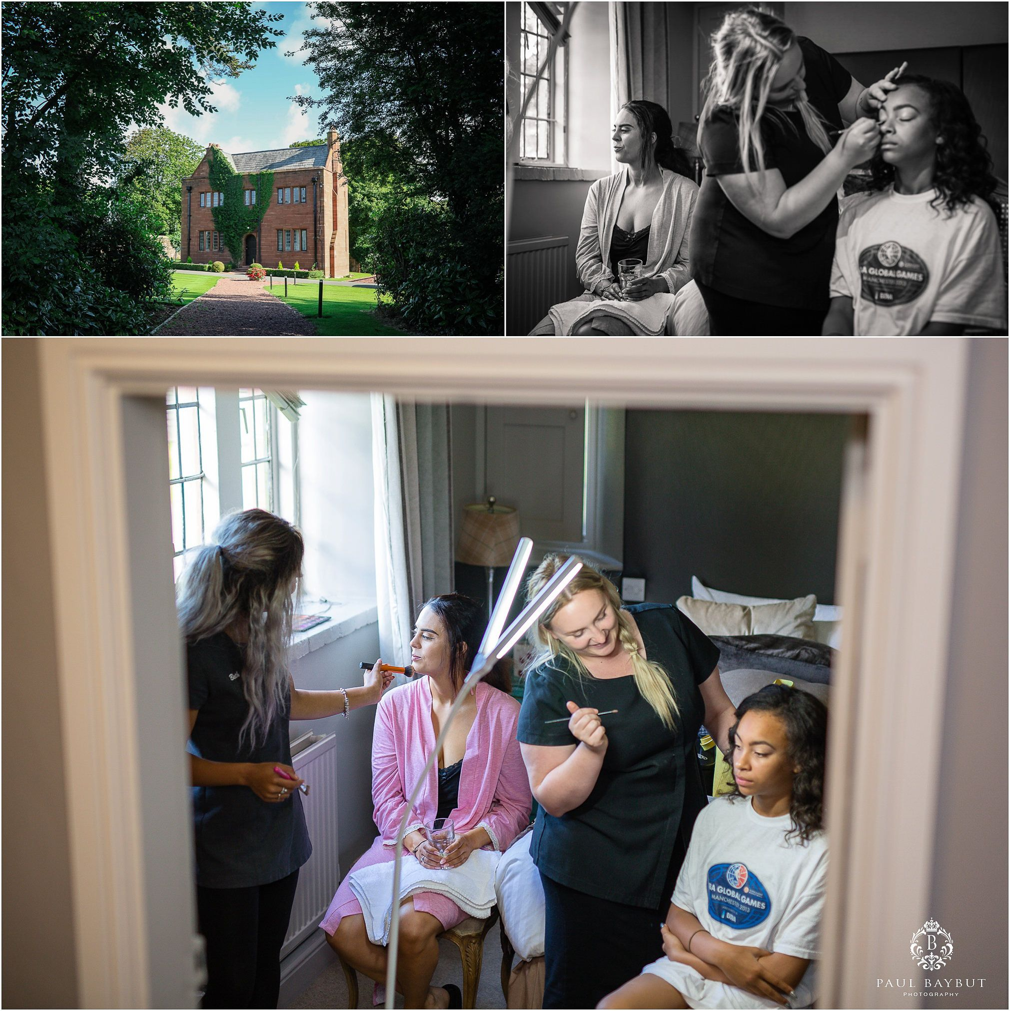 Abbey house exterior building in summer and interior scenes of young bridesmaids having their hair and makeup done