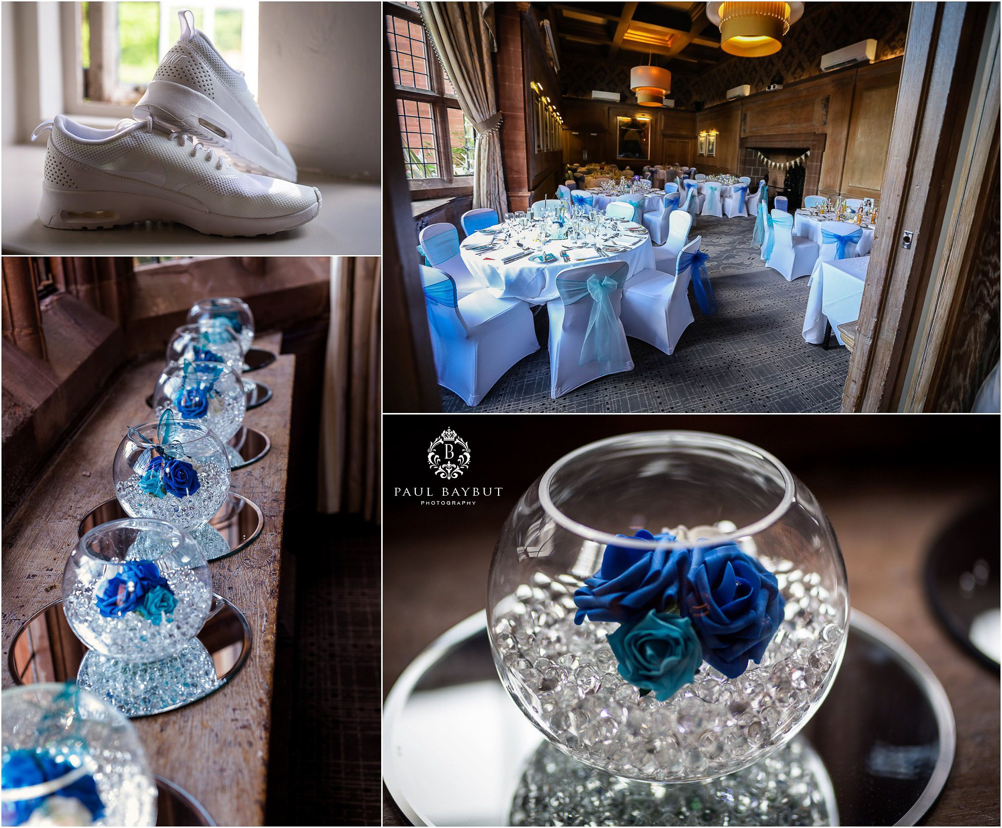 Wedding breakfast room table details with chairs and decorative bowls