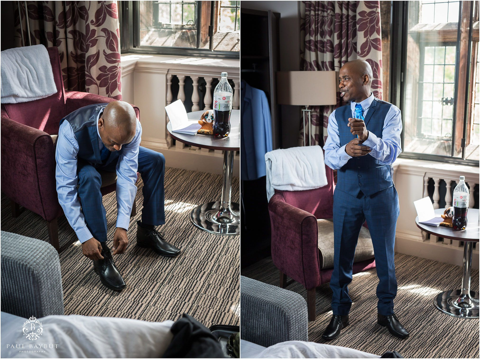 Groom ties his shoe laces and adjusts his shirt