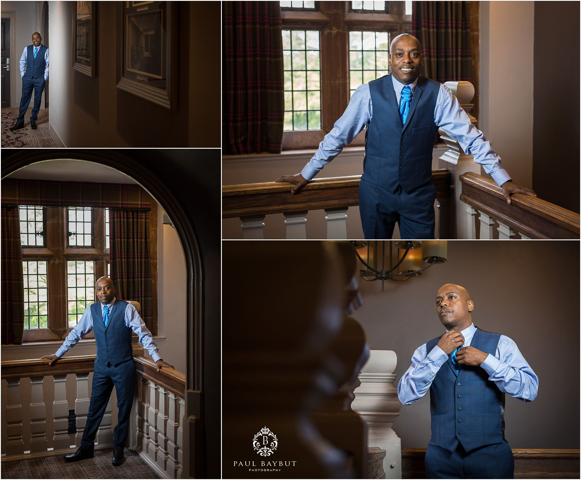 Groom in his suit poses for wedding photographs at Abbey House in Cumbria