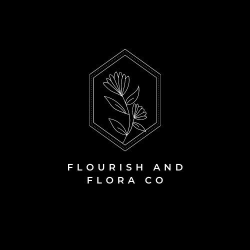 Black and white logo flourish and flora co