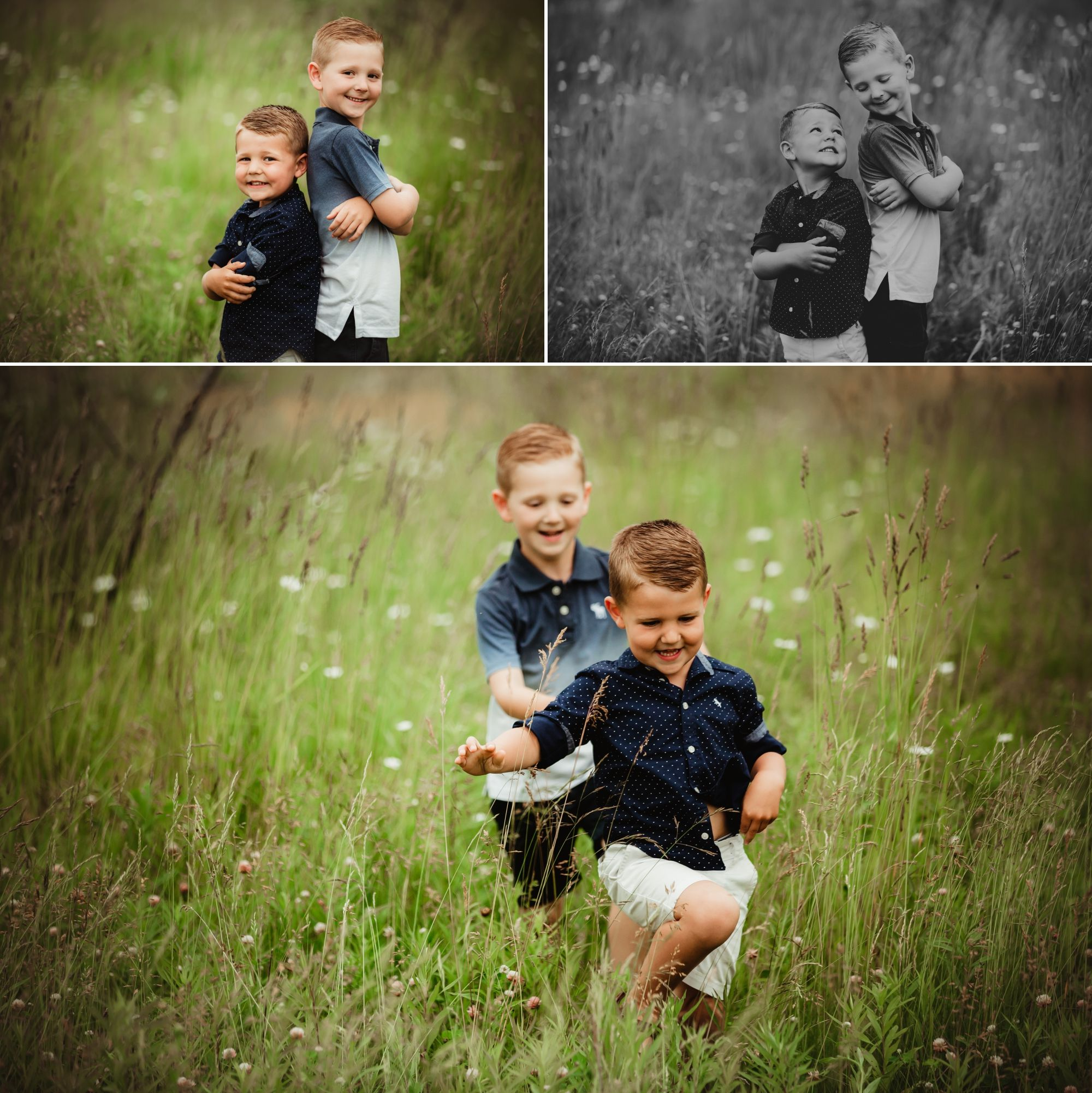 Photos of two young brothers back to back and running through a field.