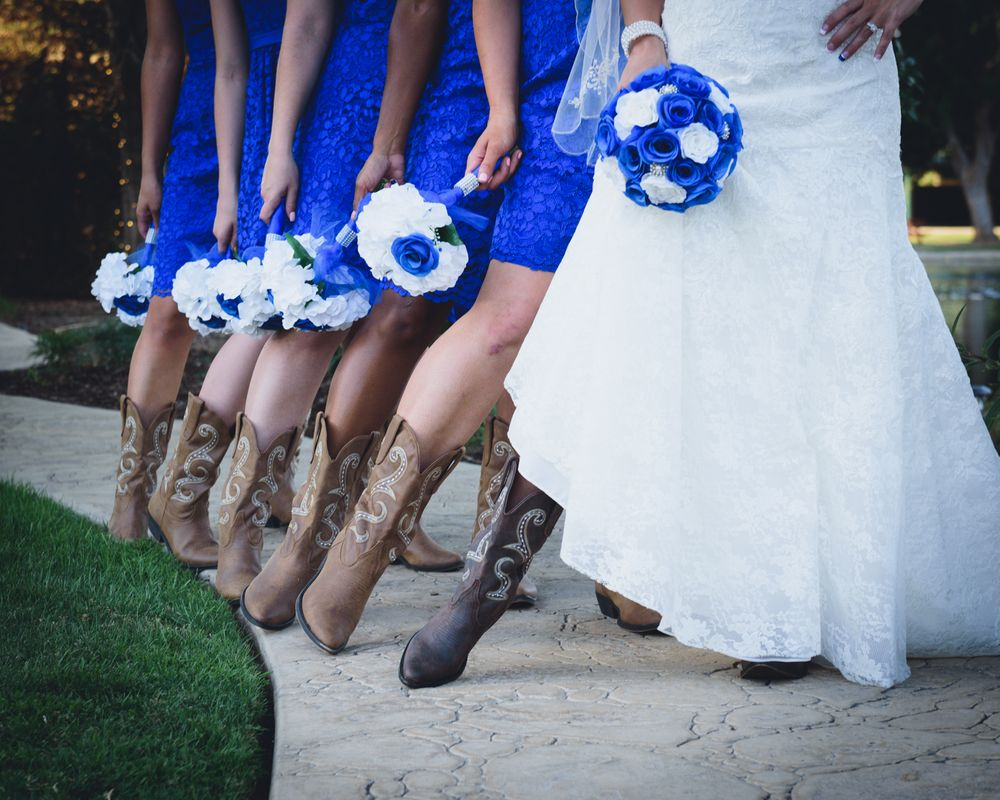 bridal party wearing cowboy boots