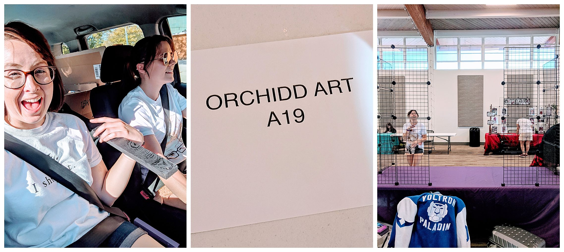 Sign reading '0rchidd art A19' laying on a artist's booth table in an empty room