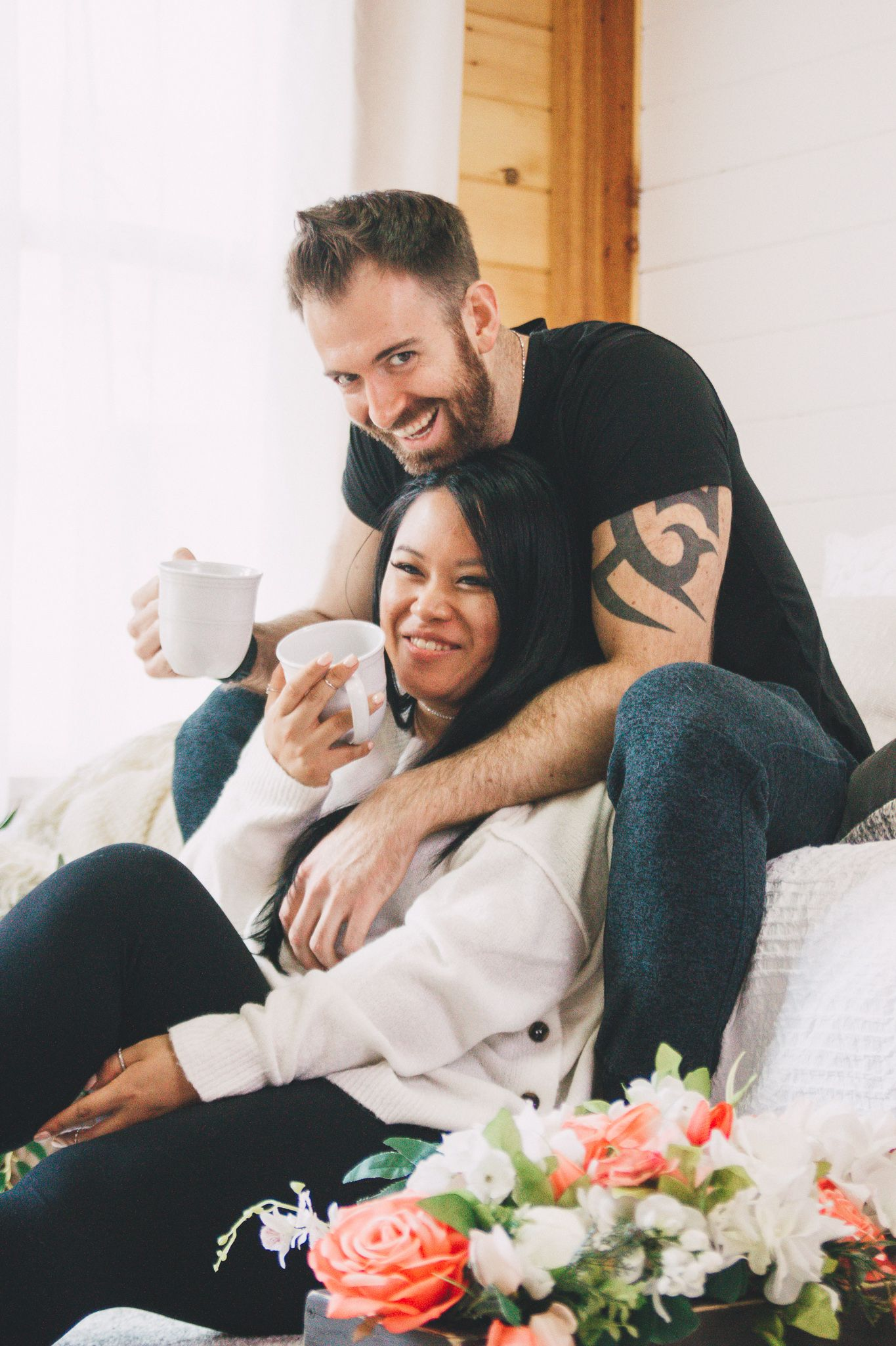 interracial couple at lifestyle at home photography session