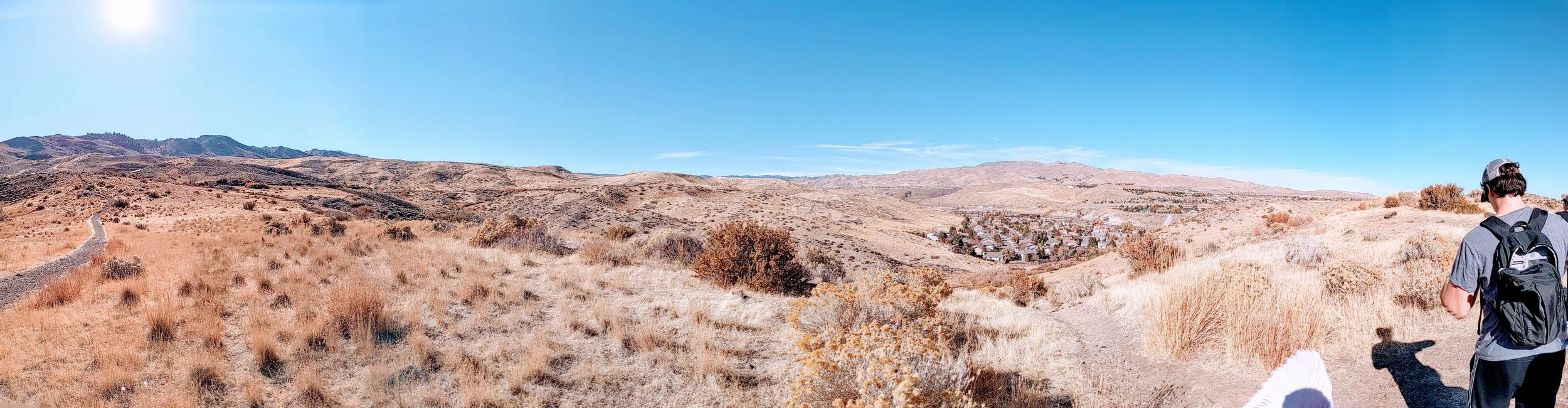 Panoramic photo taken from the top of a hiking trail overlooking Reno, Nevada