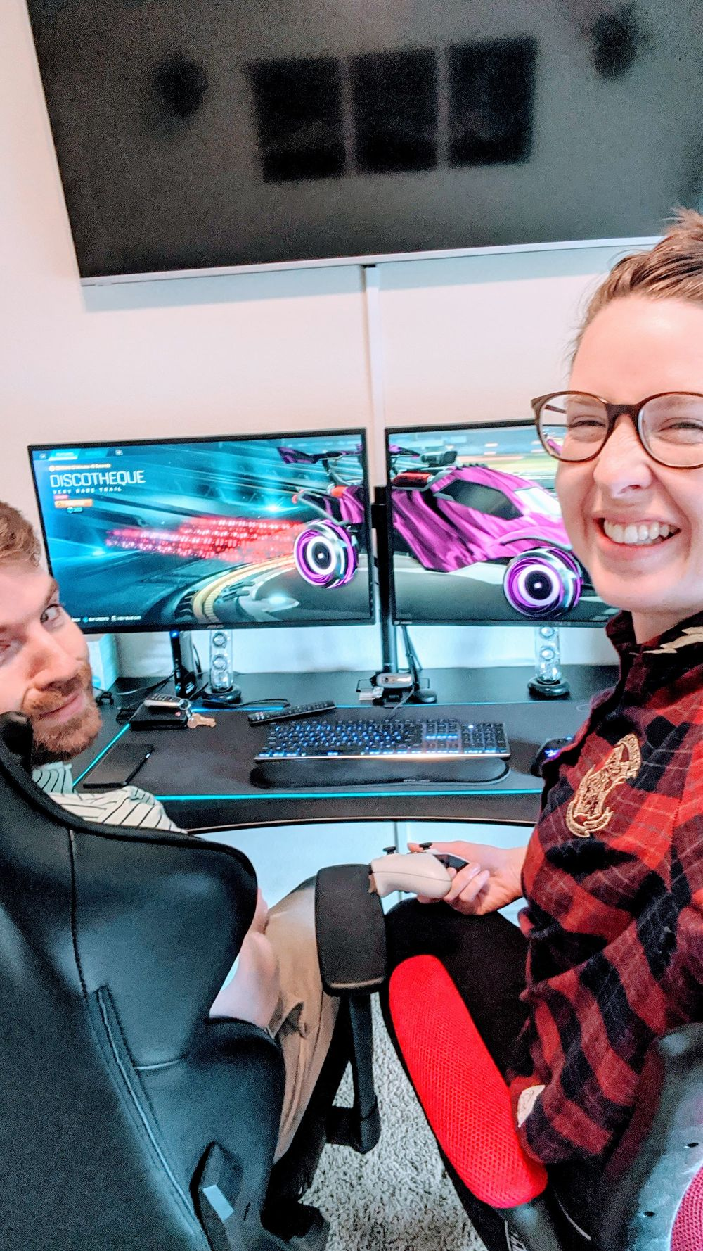 boy and girl selfie of playing rocket league video game
