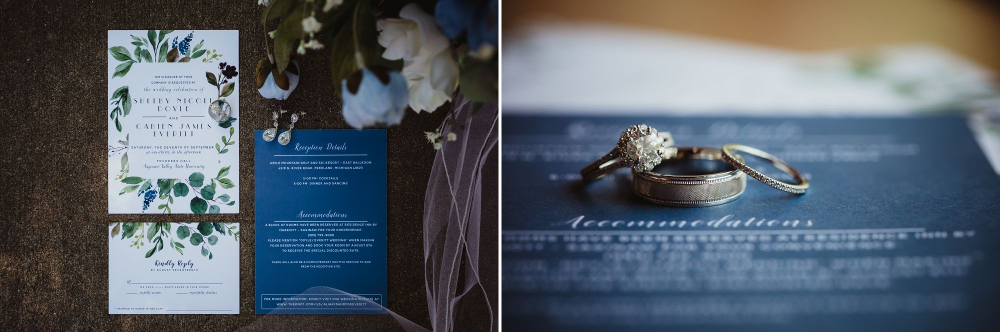 Photos of the wedding invitations, RSVP card, and wedding rings.