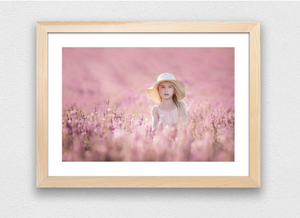 Girl standing in lavender field