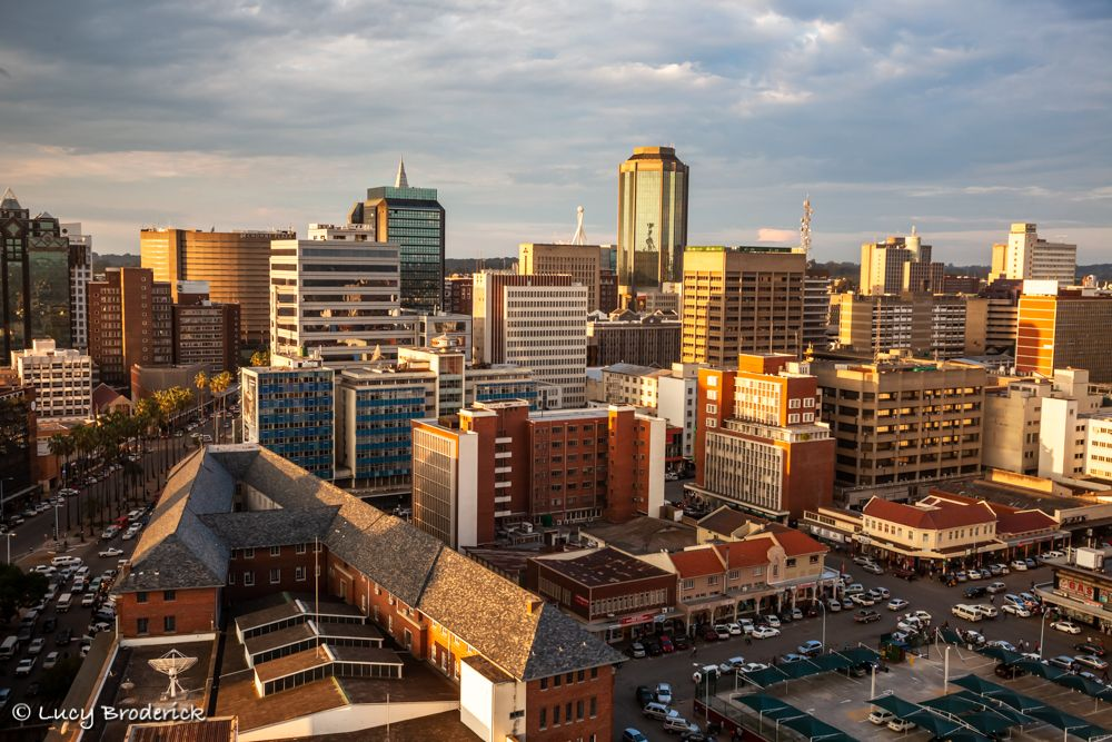 View of Harare at sunset taken from Joina Centre showing the Reserve Bank and the Post Office.