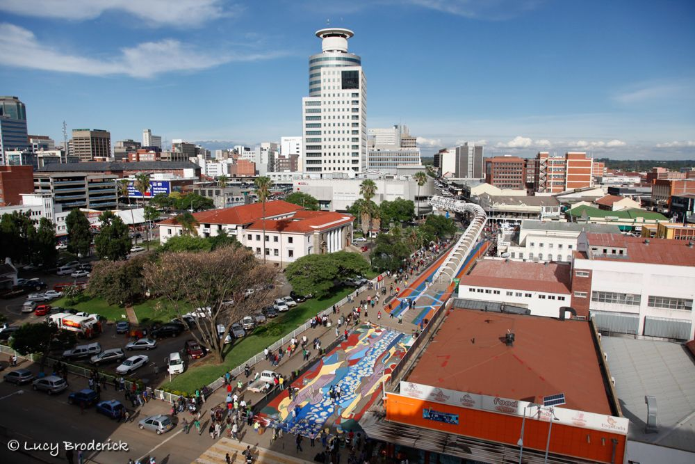 "View of the ""Colour Spekes"" project and Joina Centre Harare.  Speke Ave was painted with bright designs. Urban Renewal."