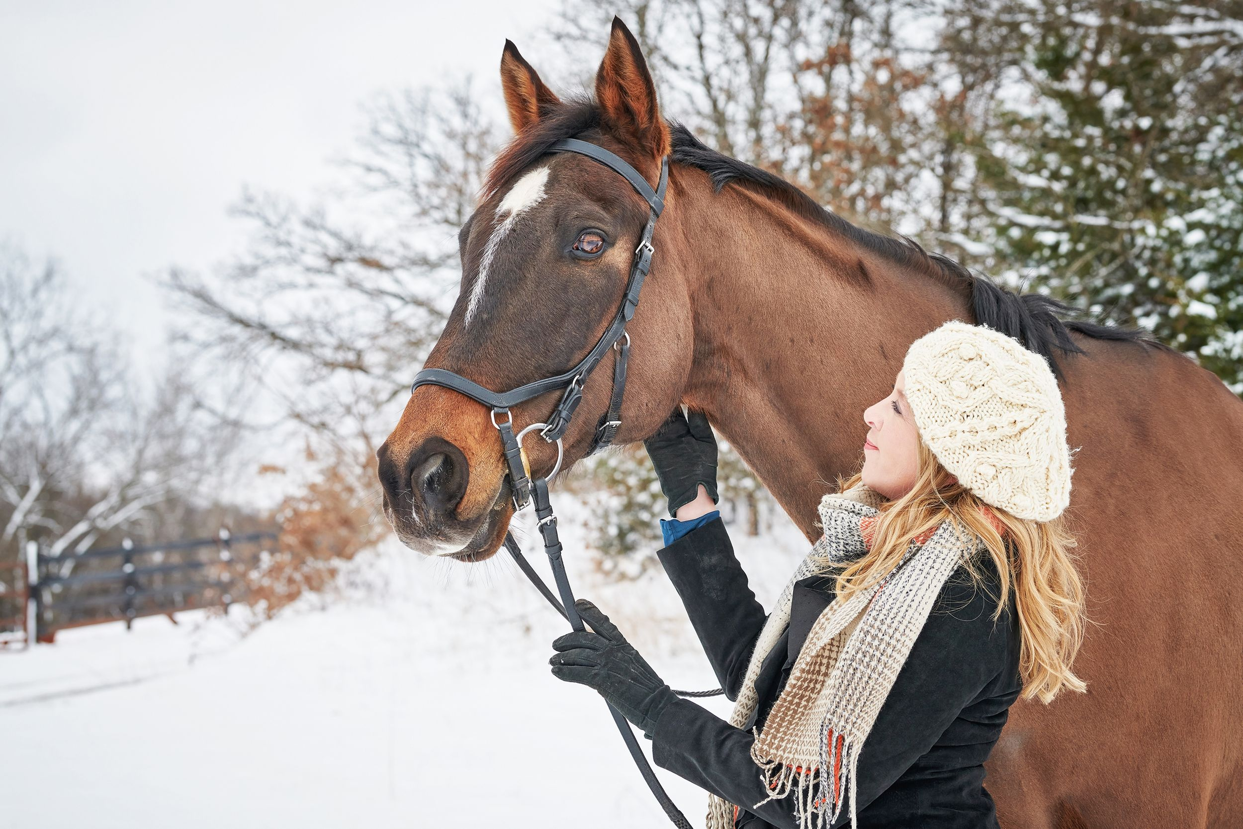 Woman and her thoroughbred horse in the snow