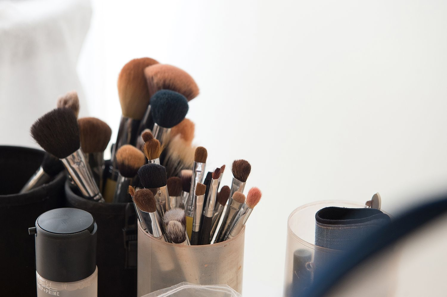 professional make up brushes during bride's preparation