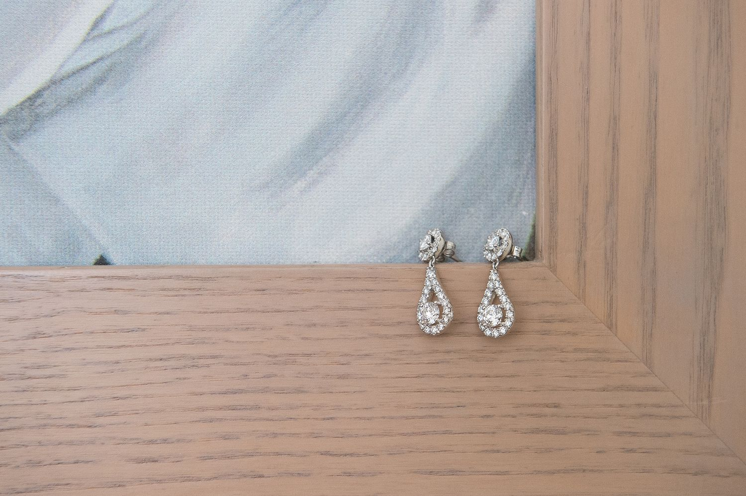 pair of bride's diamond earrings