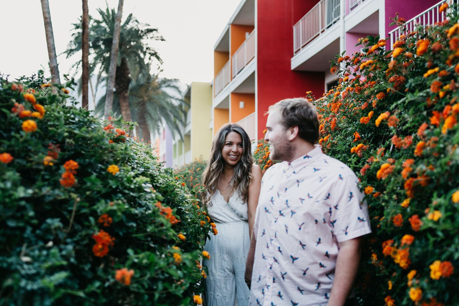 engaged couple at saguaro palm springs hotel