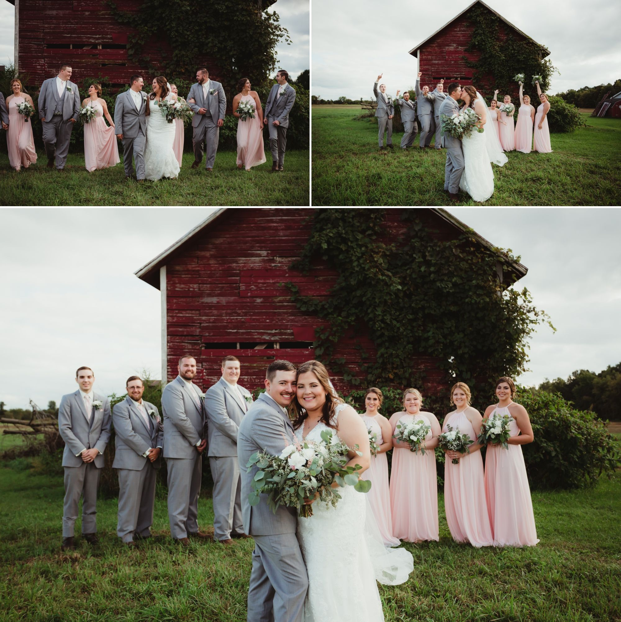 Wedding party posing in front of an old red barn.