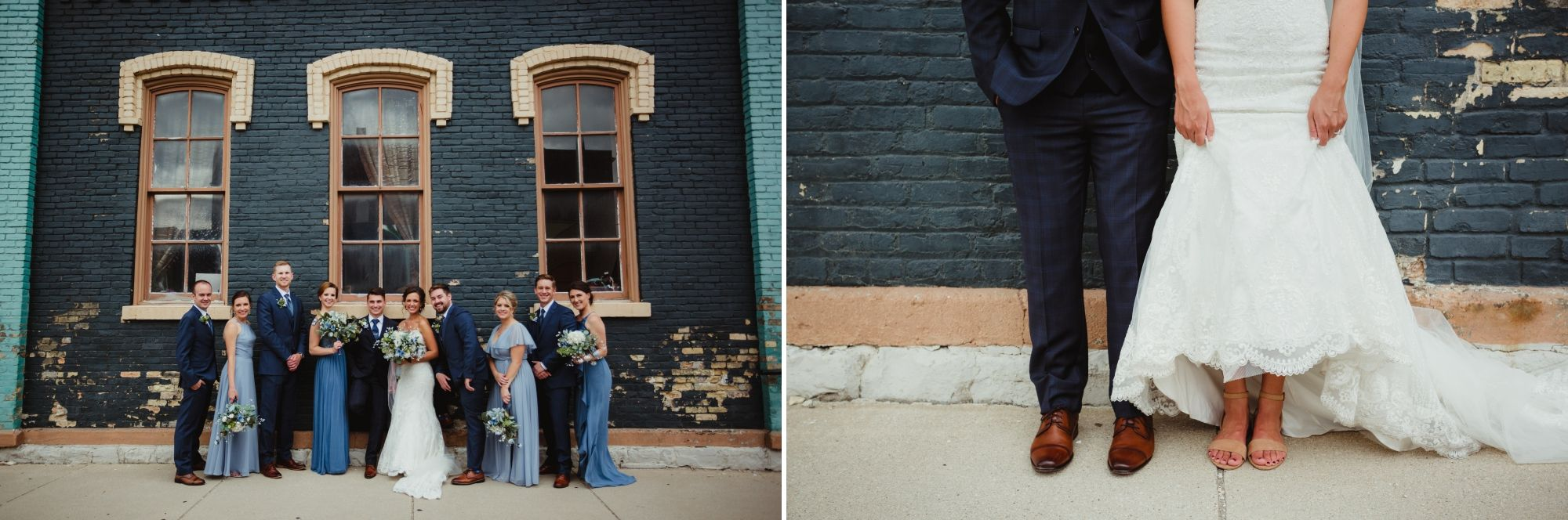 Wedding party standing in front of a navy brick wall then a close up of the bride and groom's feet.