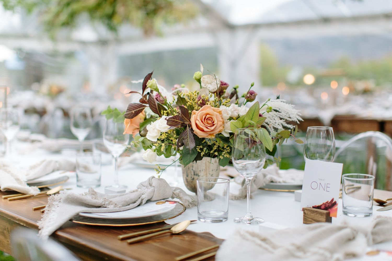fall wedding reception florals