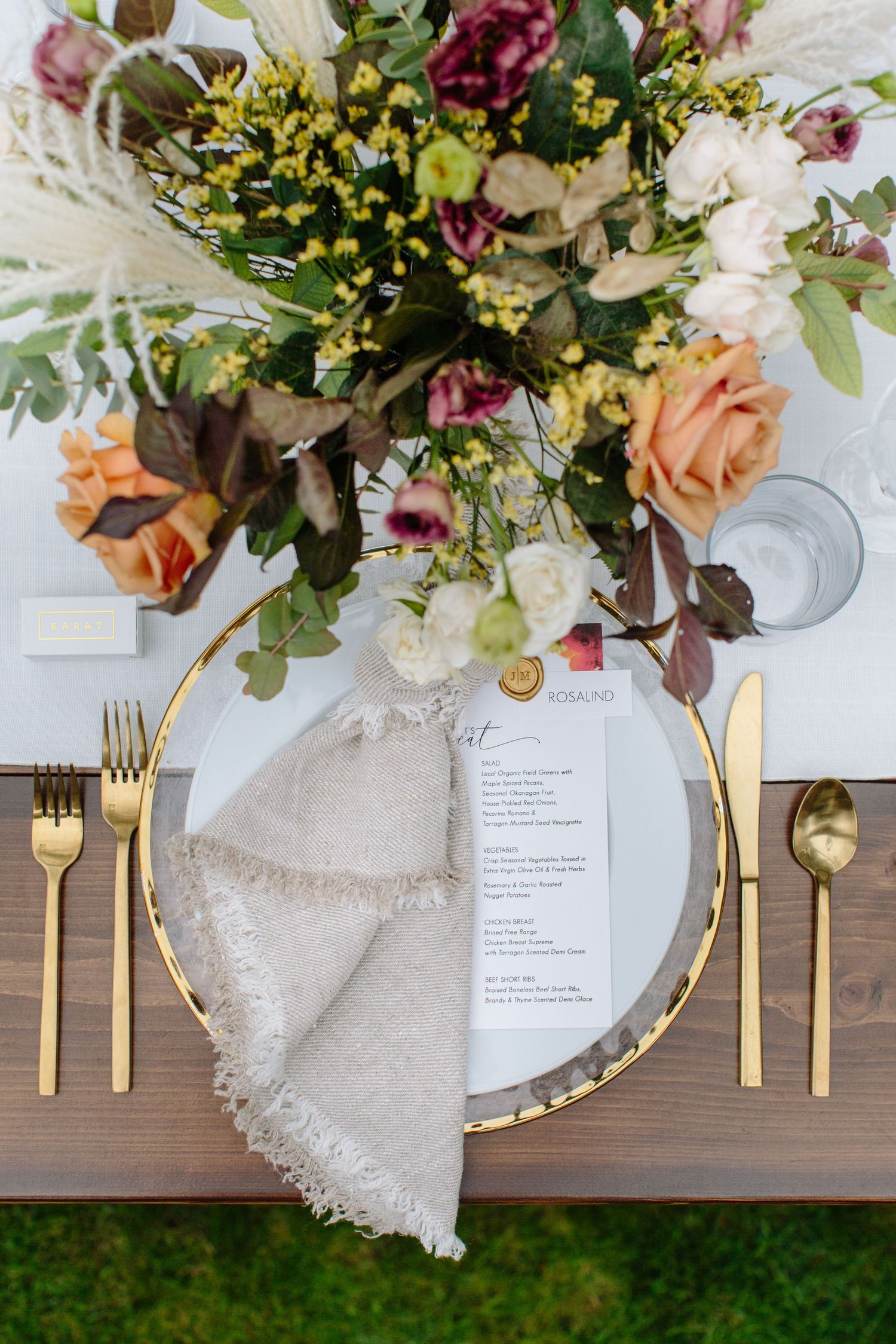rustic wedding design gold accents