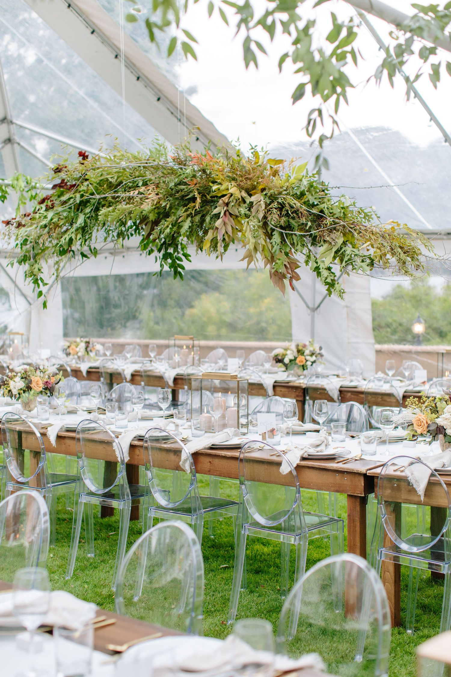 floating floral design at wedding reception