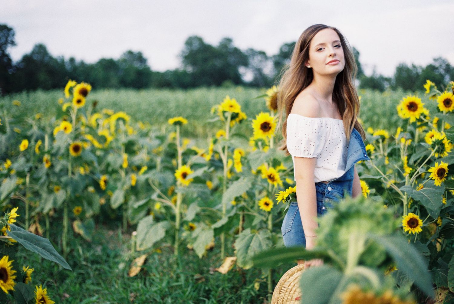 Louisiana senior portraits of a female Oak Forest Academy student at a sunflower field in Picayune, Mississippi