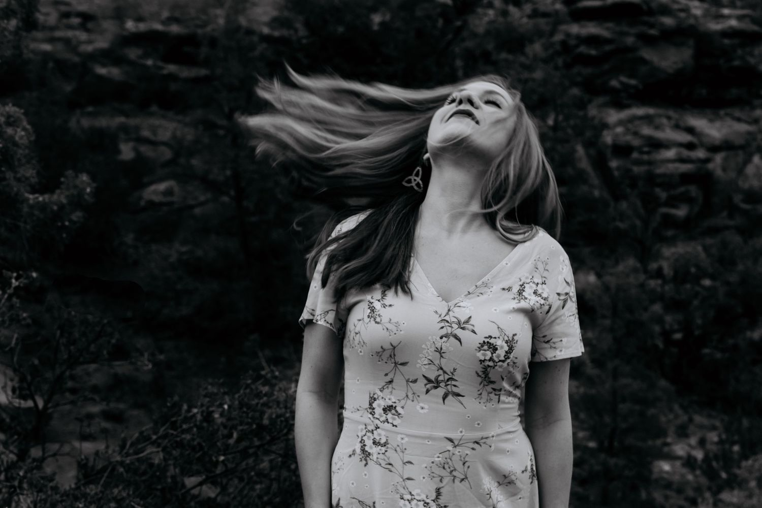Wind Blown Black and White Women's Portrait Sedona Arizona