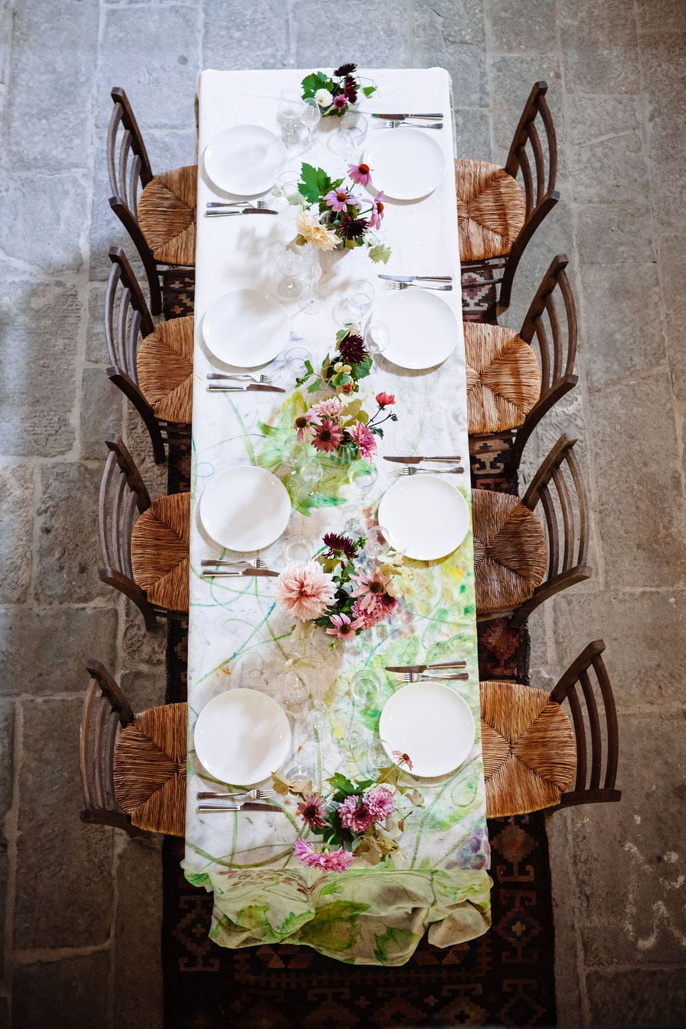 beautiful table setting at a intimate wedding in Tuscany