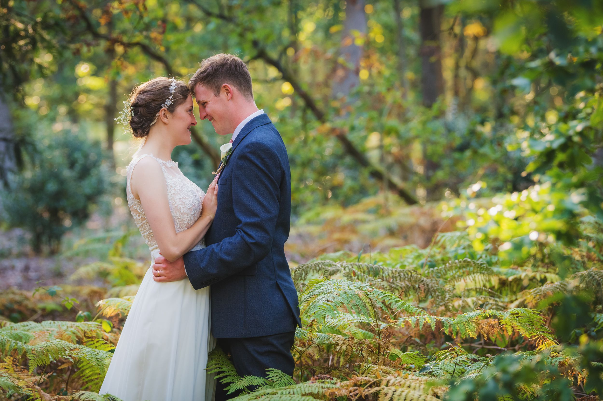 Wedding in Bedfordshire, couple in the woods