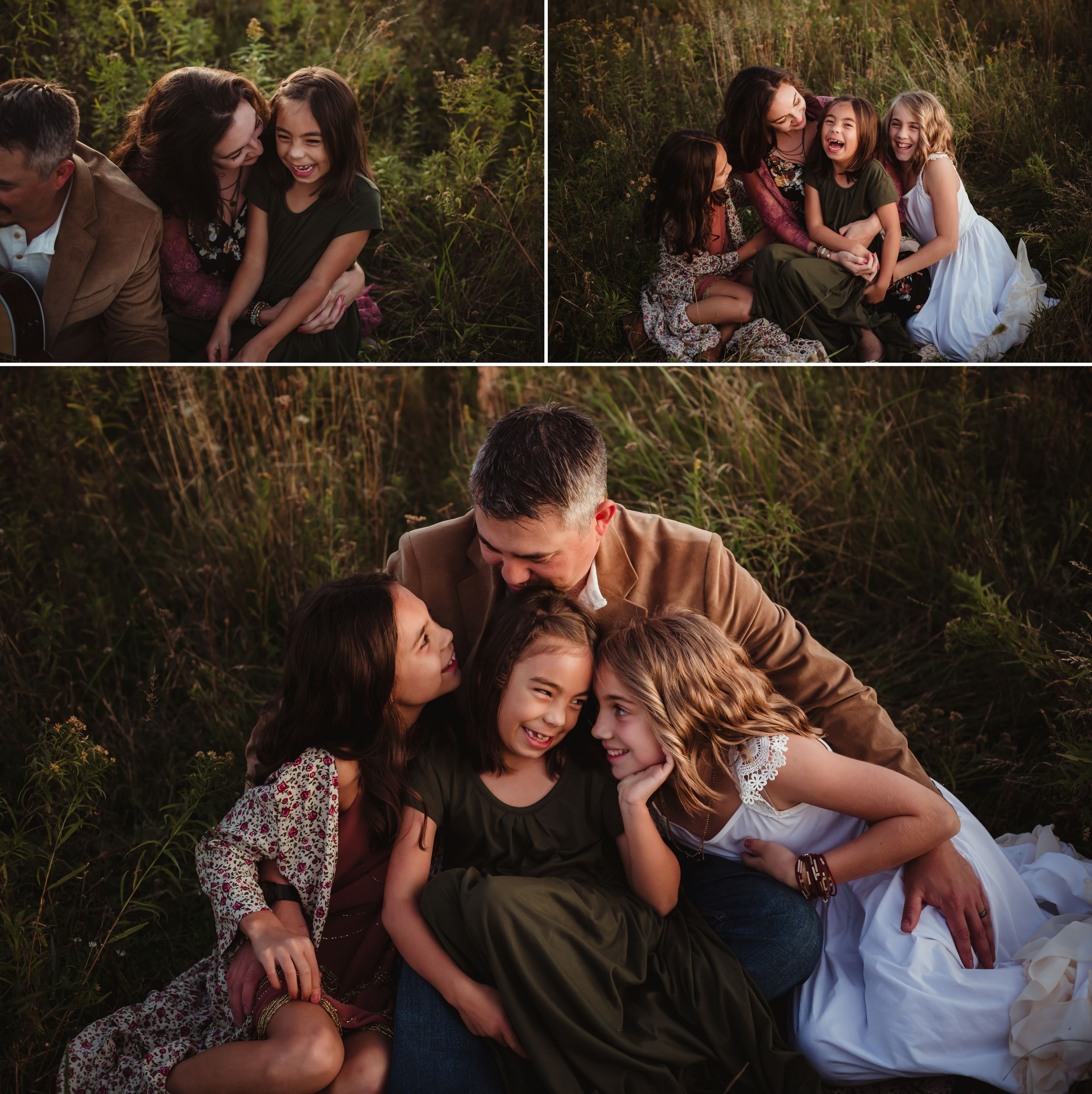 Collage of daughters cuddling their parents while sitting in a field.