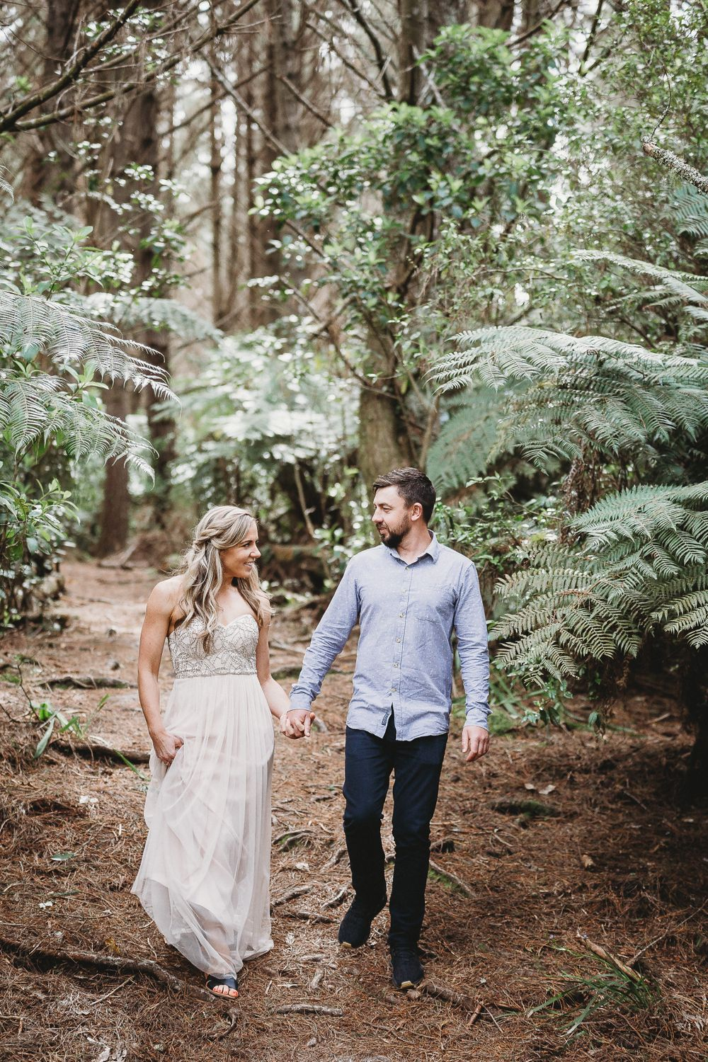 Bridal couple in forest setting