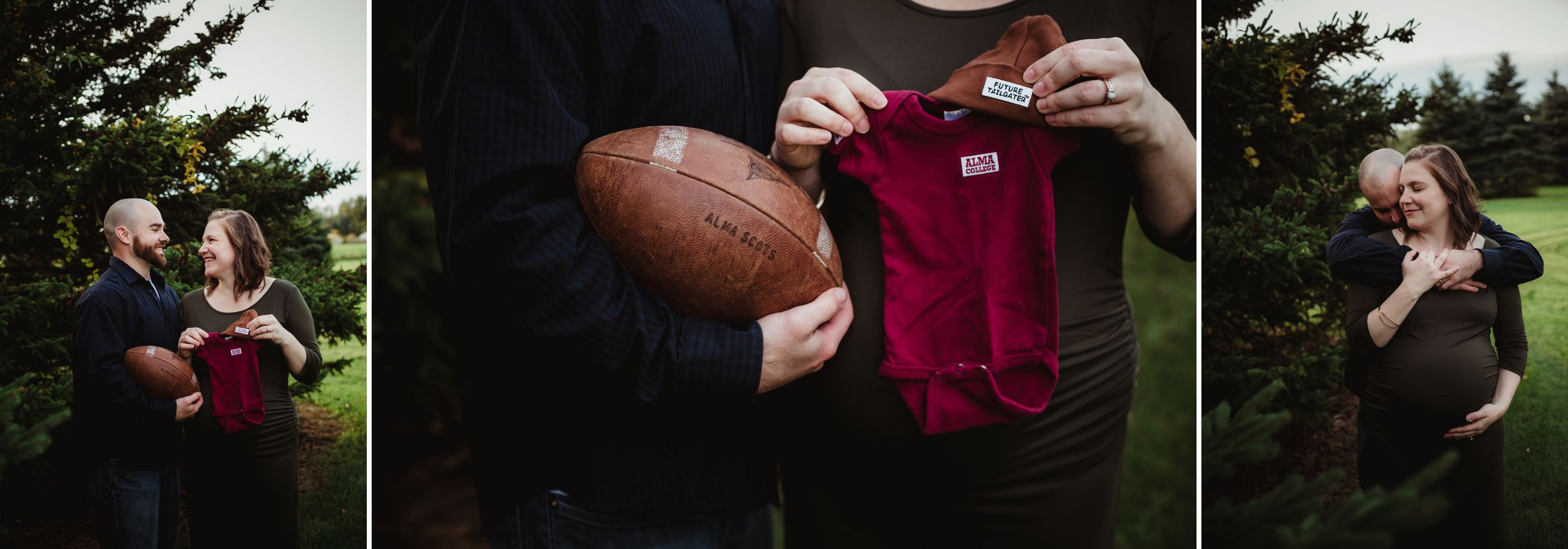 Pregnant woman and husband holding on Alma College onesie and a football.