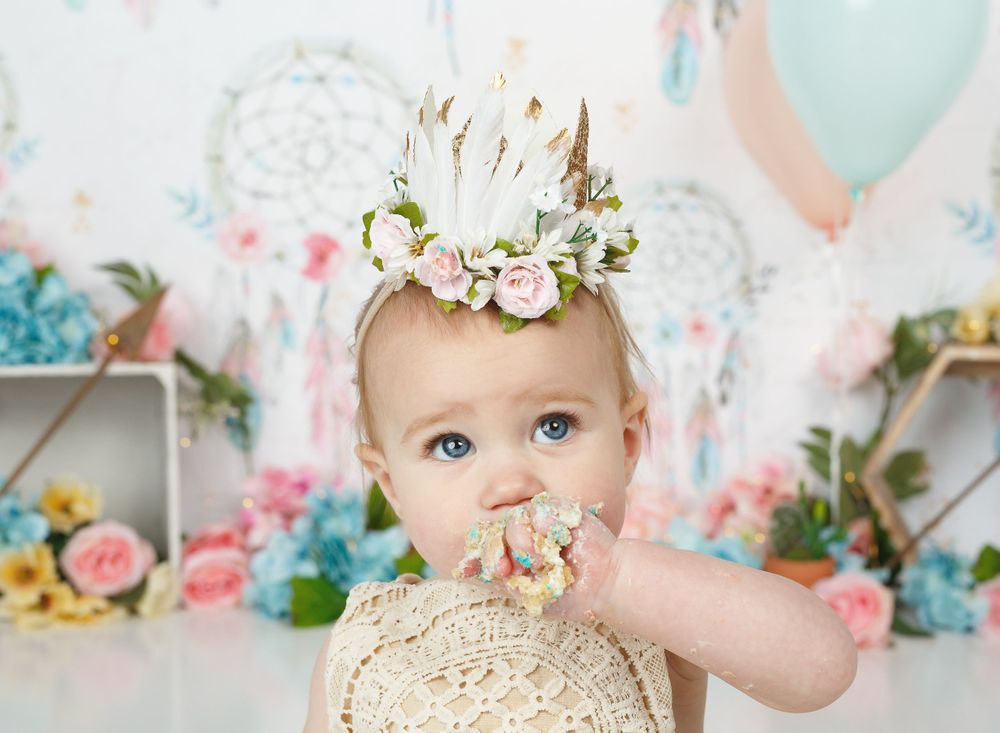 austin newborn photography cake smash boho dreamcatcher cake smash