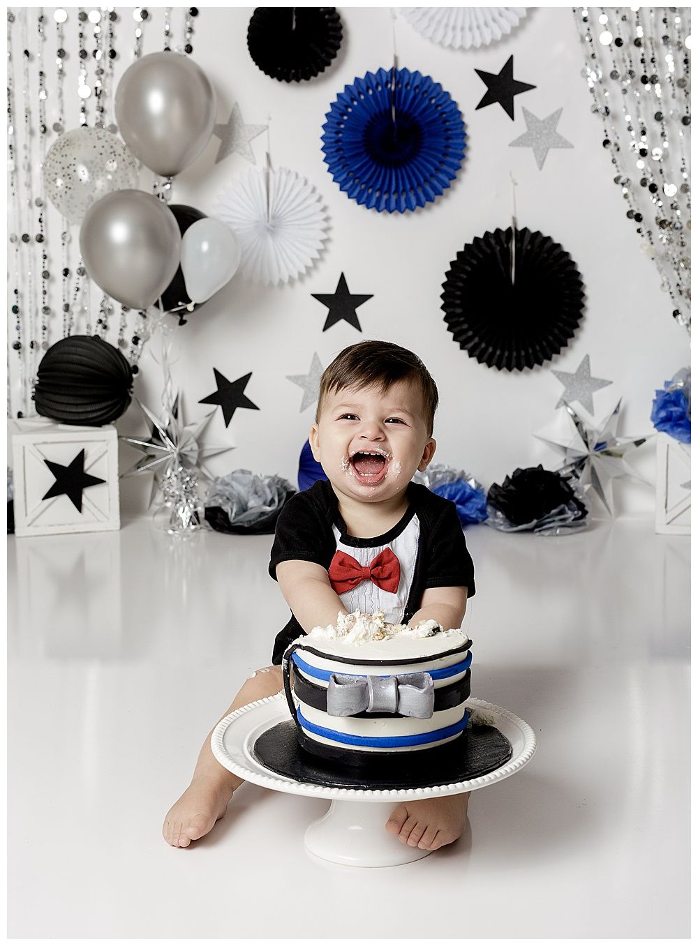 austin newborn photography cake smash mr onederful tuxedo baby one year session