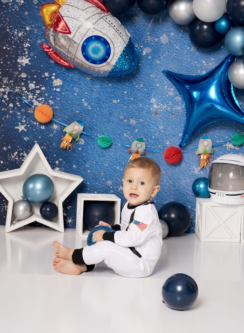 One Year Old Baby Session by austin newborn photography outer space space man theme