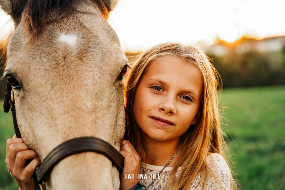 Closeup of a girl and her horse in Waxhaw, NC
