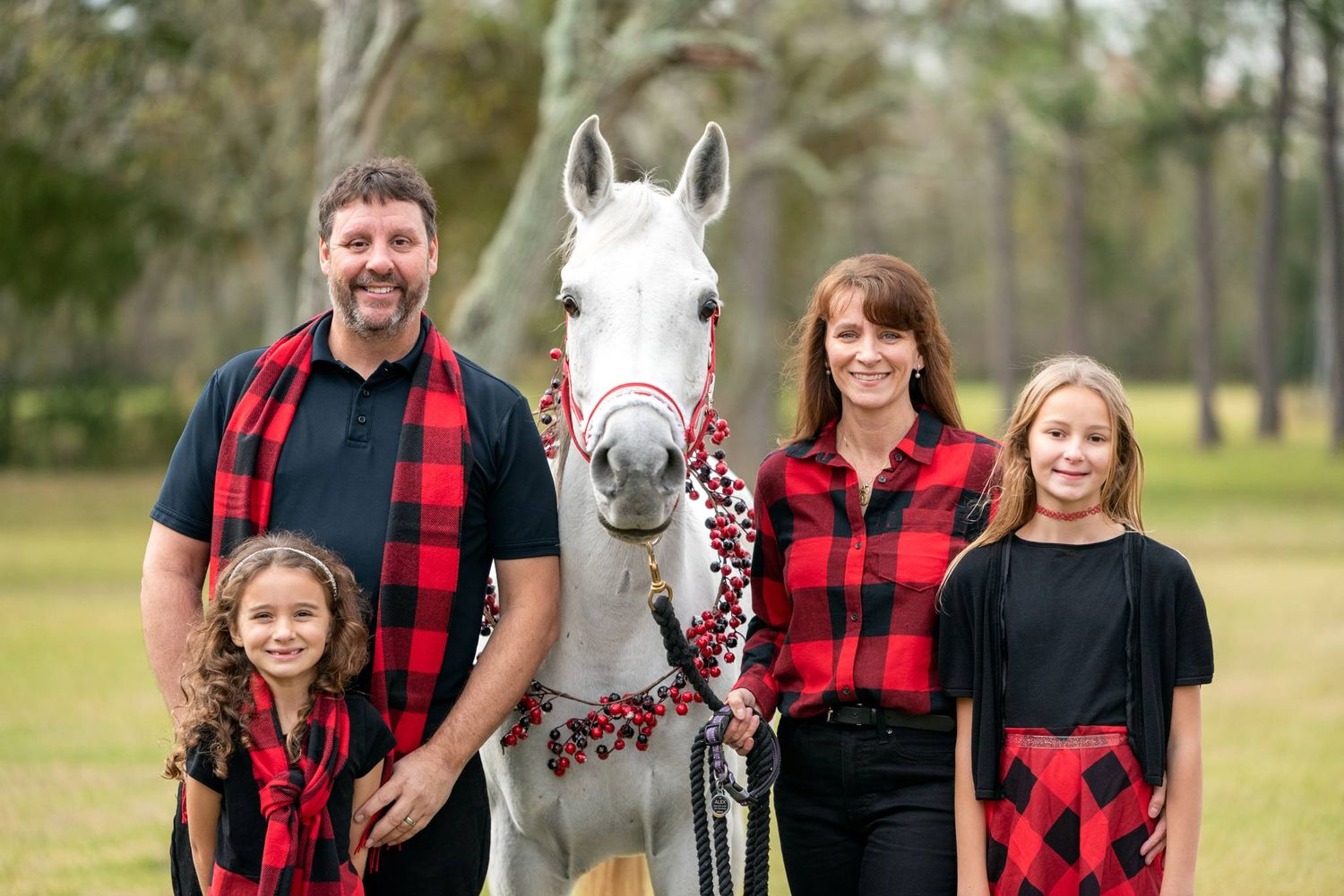 Holiday family portrait with white arabian horse