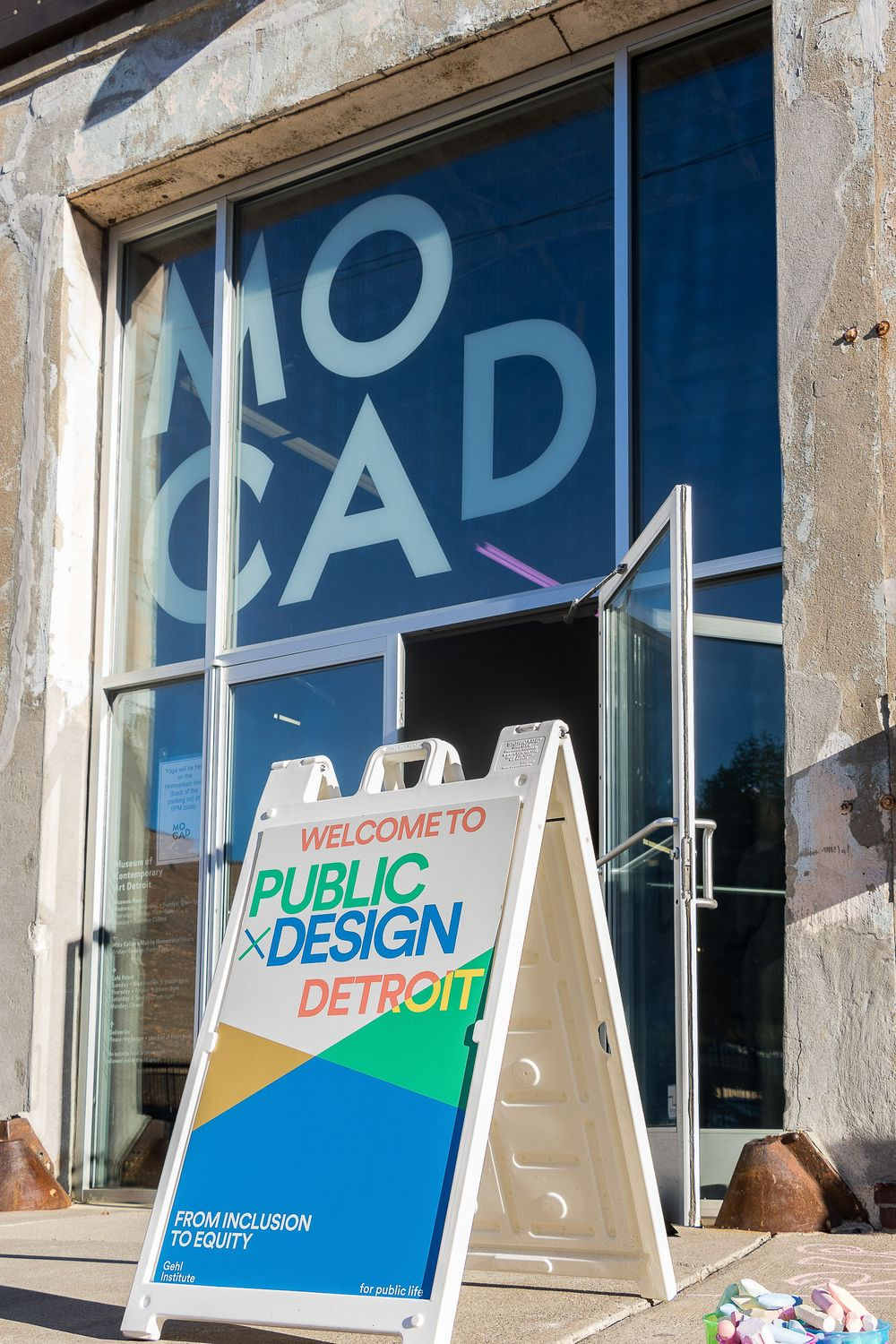 Entrance to MOCAD in Detroit where a public design conference is taking place.
