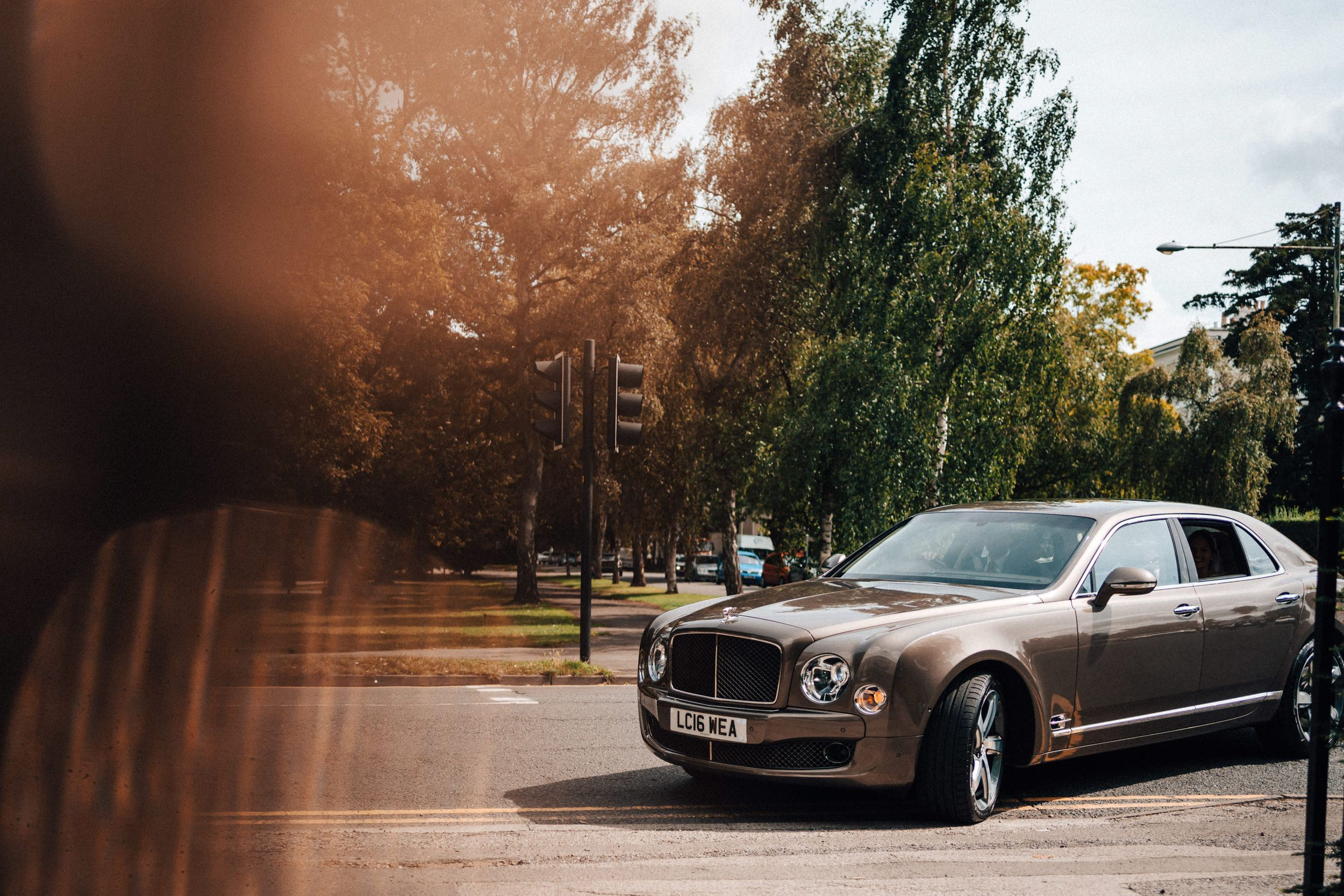 Brand-new Bentley Wedding car brings bride to the wedding at number 38 the park cheltenham