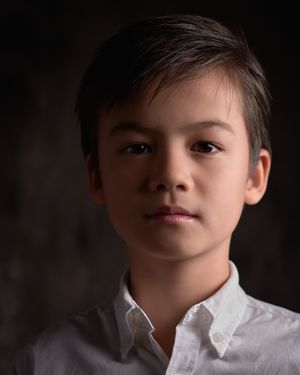 Grayson La Mont young boy studio portrait photo mixed asian chinese model