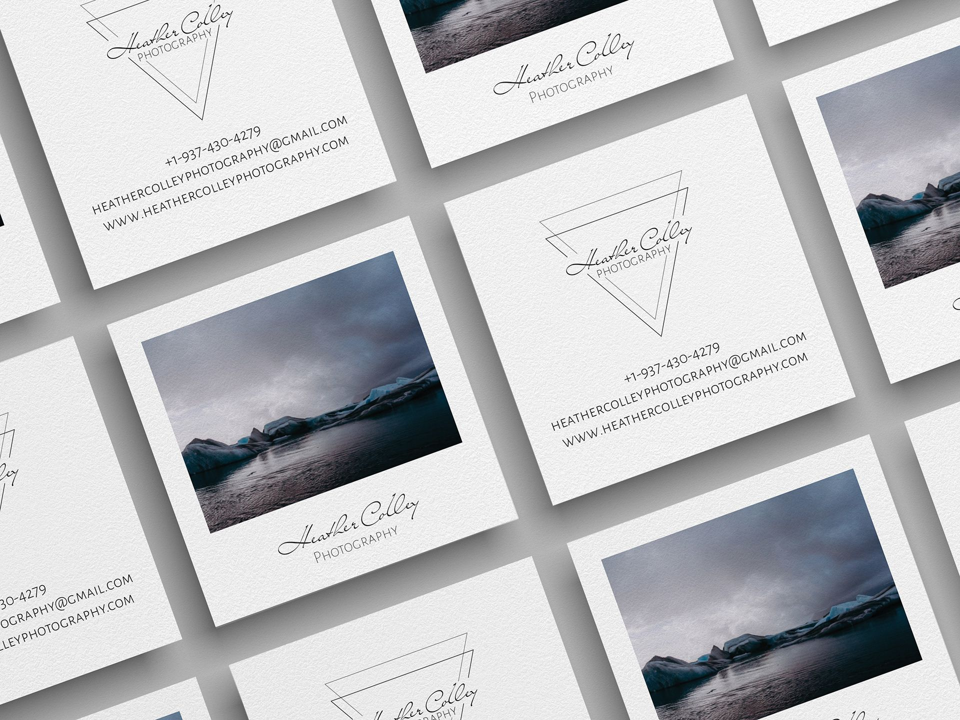 Business card designed. Made to look like a Polaroid picture with a landscape of glaciers in Iceland and business info.