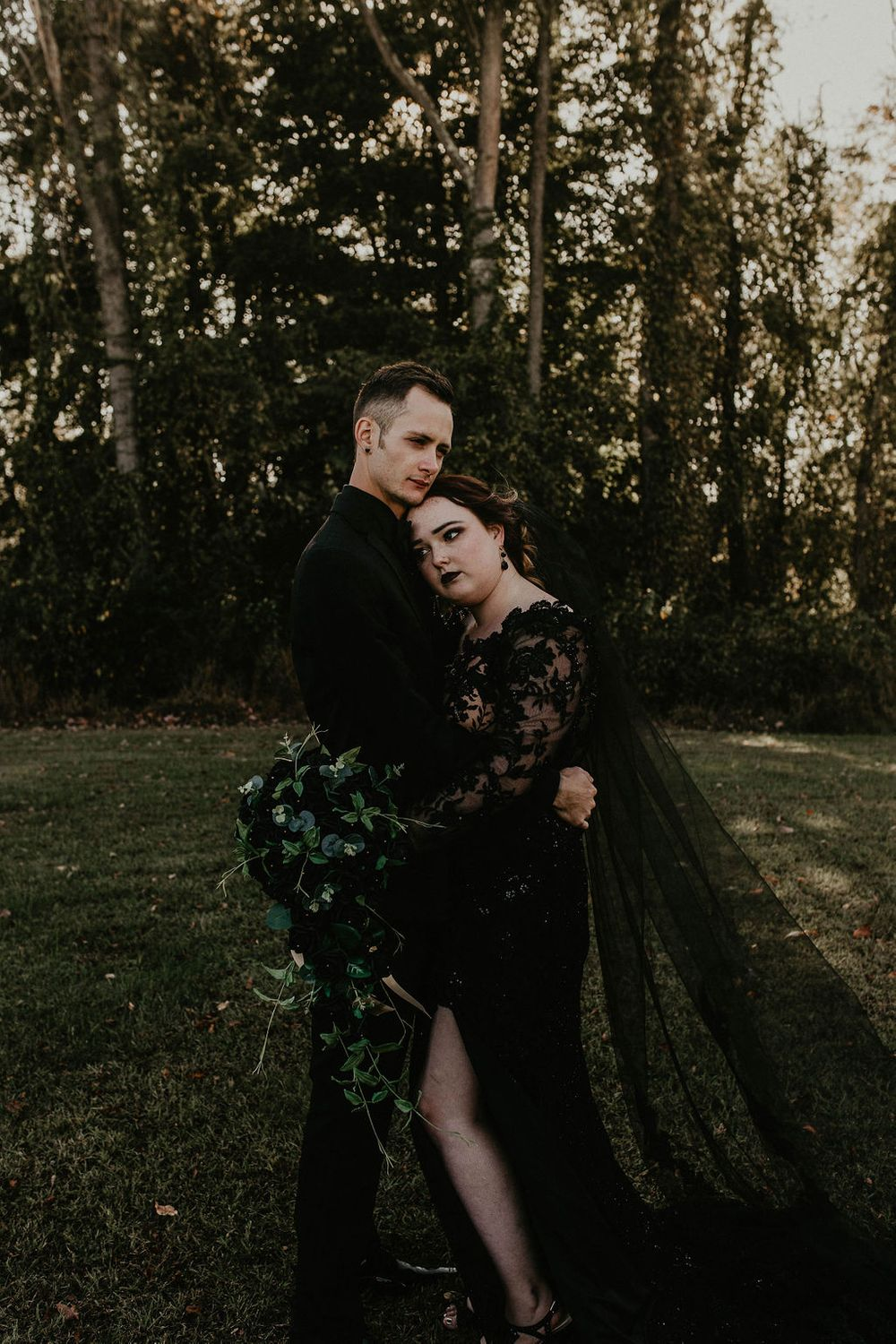 Black Wedding Dress, Bride & Groom, Dark & Moody Wedding