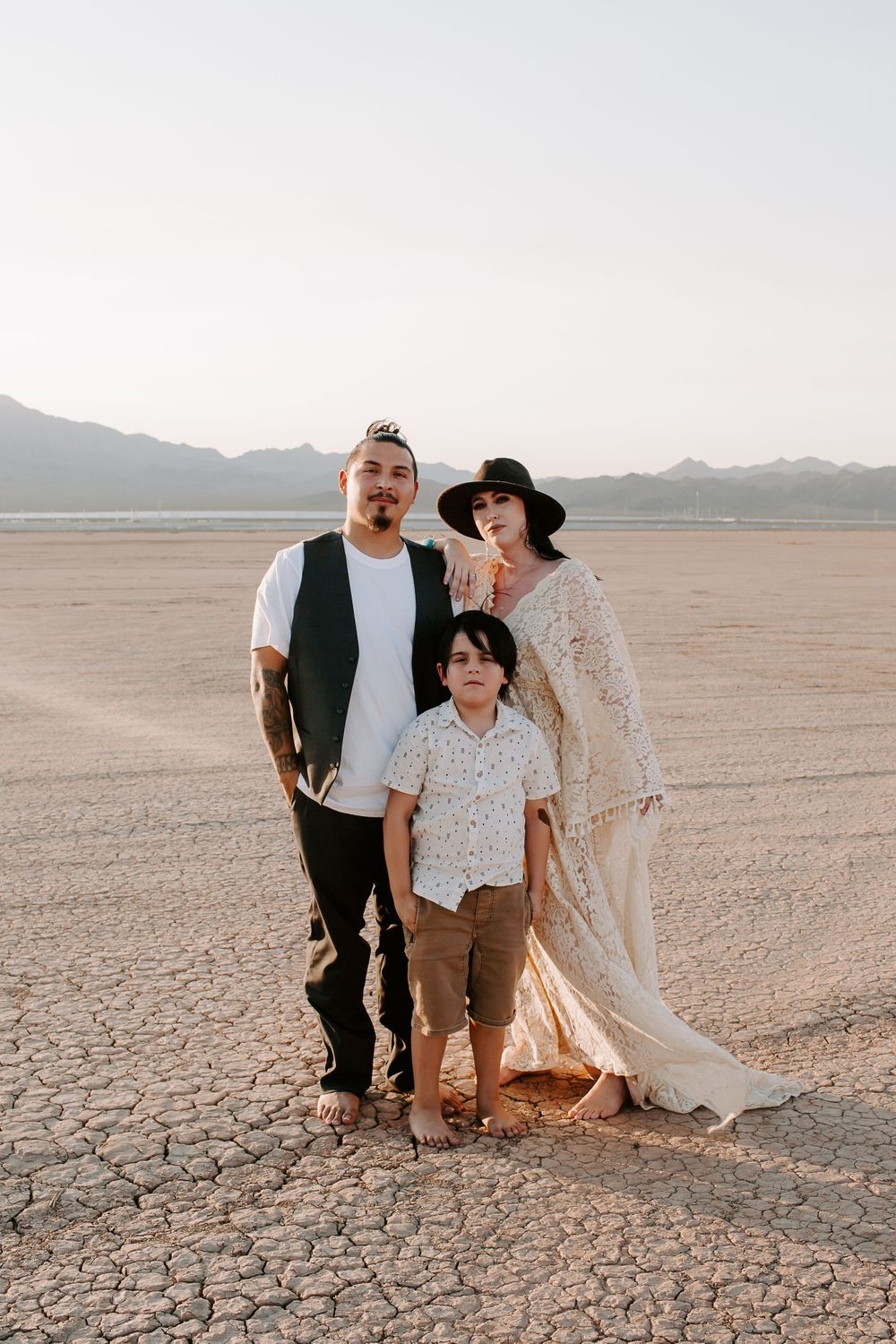 family pictures on a dry lake bed in Las Vegas Nevada