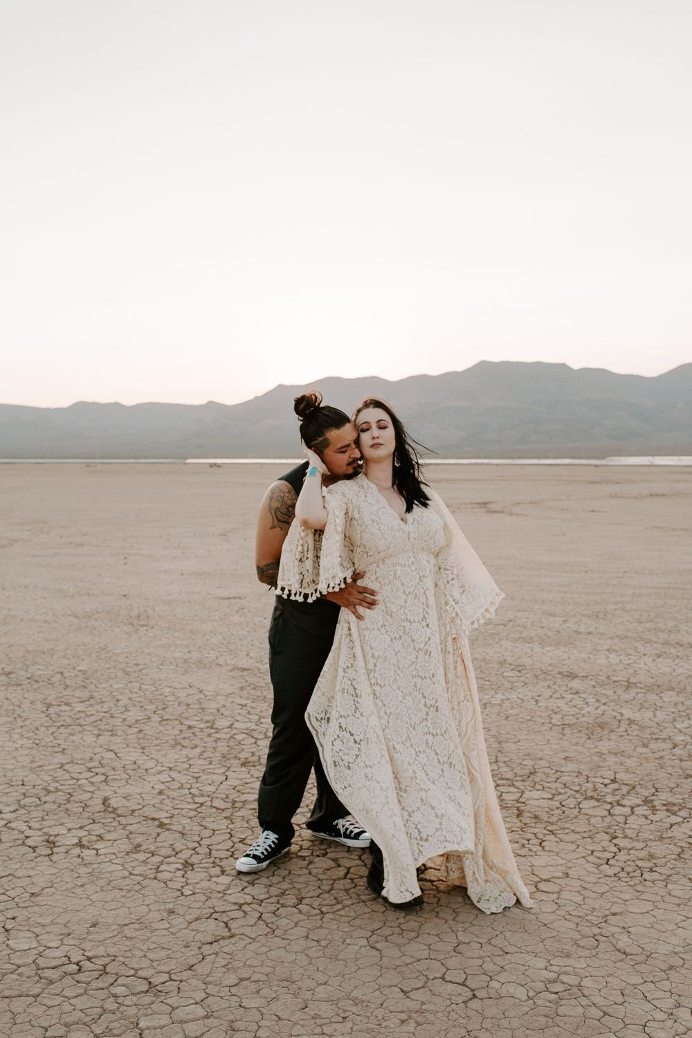 couple embracing during their Las Vegas elopement