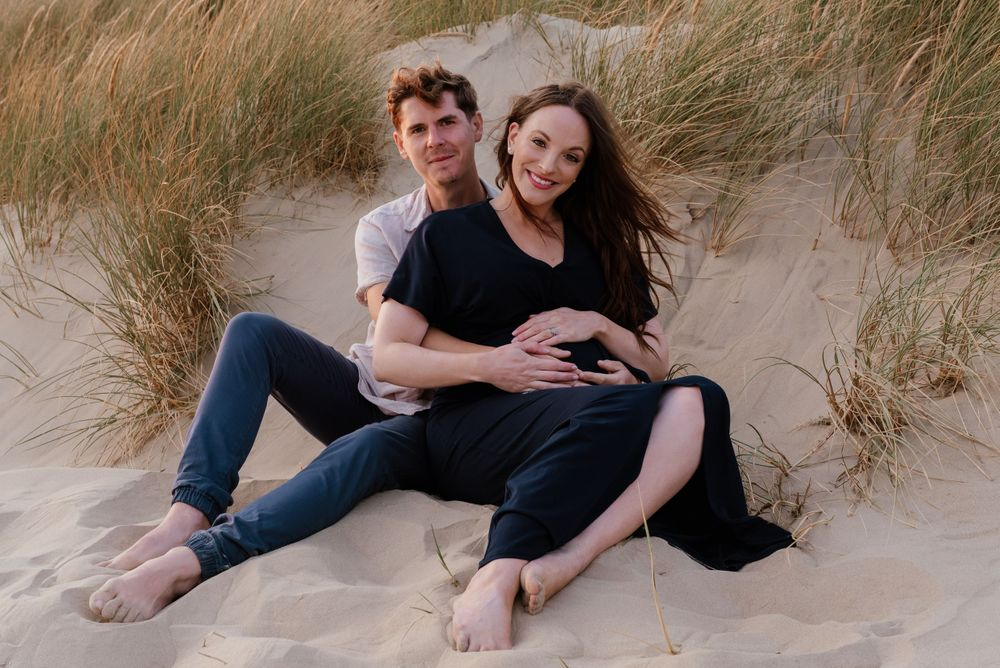 Couple portrait at Camber Sands beach