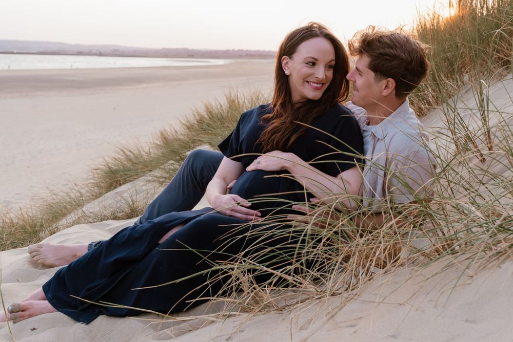 Couple portrait session at Camber Sands beach